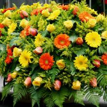 Onoranze Funebri Ripamonti & Berna | Composizione fiori rossi e gialli